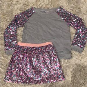 Girls sequin skirt w/ matching sweatshirt size 7-8